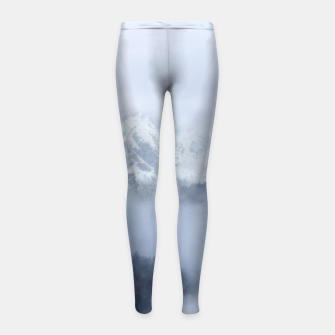 Thumbnail image of Mysterious fog rolling through layers of hills and mountains Girl's leggings, Live Heroes