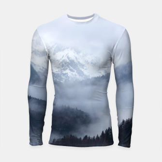 Thumbnail image of Mysterious fog rolling through layers of hills and mountains Longsleeve rashguard , Live Heroes
