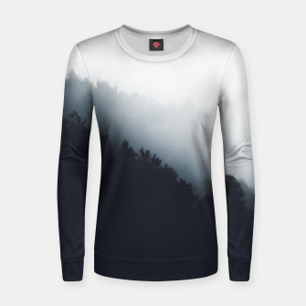 Thumbnail image of Fog over forest diagonal layers Women sweater, Live Heroes