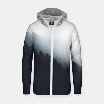 Thumbnail image of Fog over forest diagonal layers Zip up hoodie, Live Heroes