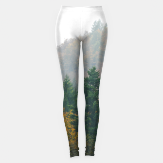 Miniatur Foggy autumn forest layers disappearing in fog Leggings, Live Heroes
