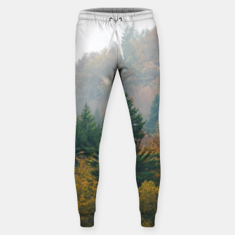 Miniatur Foggy autumn forest layers disappearing in fog Sweatpants, Live Heroes