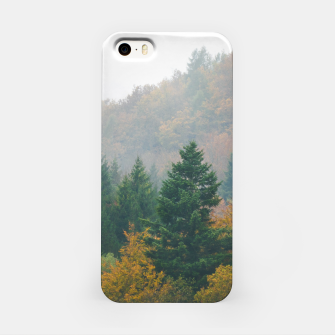 Miniatur Foggy autumn forest layers disappearing in fog iPhone Case, Live Heroes
