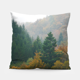 Miniatur Foggy autumn forest layers disappearing in fog Pillow, Live Heroes