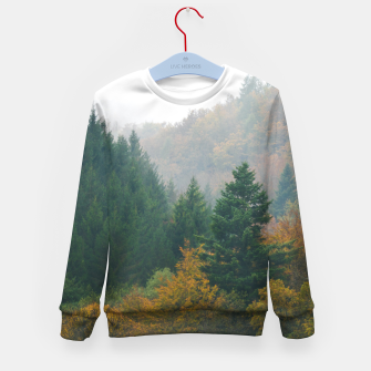 Miniatur Foggy autumn forest layers disappearing in fog Kid's sweater, Live Heroes