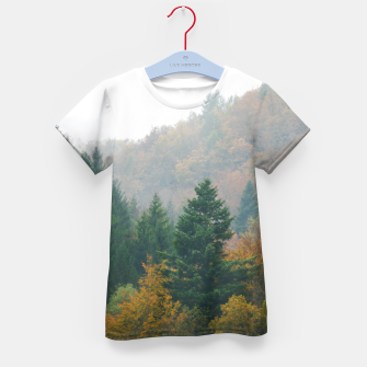 Miniatur Foggy autumn forest layers disappearing in fog Kid's t-shirt, Live Heroes