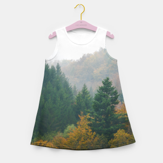 Miniatur Foggy autumn forest layers disappearing in fog Girl's summer dress, Live Heroes