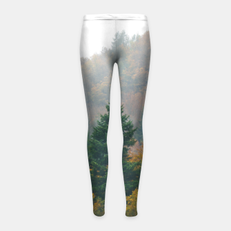 Miniatur Foggy autumn forest layers disappearing in fog Girl's leggings, Live Heroes