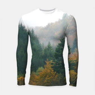 Miniatur Foggy autumn forest layers disappearing in fog Longsleeve rashguard , Live Heroes