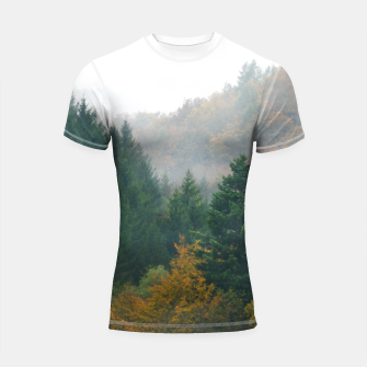 Miniatur Foggy autumn forest layers disappearing in fog Shortsleeve rashguard, Live Heroes