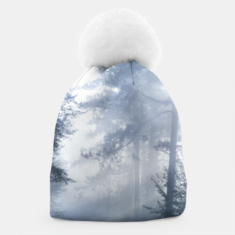 Thumbnail image of Sun rays shinning through foggy forest Beanie, Live Heroes