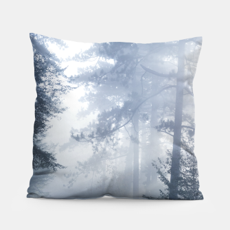 Thumbnail image of Sun rays shinning through foggy forest Pillow, Live Heroes
