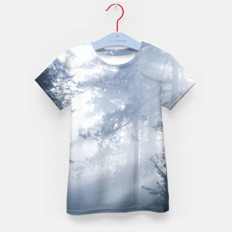 Thumbnail image of Sun rays shinning through foggy forest Kid's t-shirt, Live Heroes