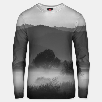 Thumbnail image of Fog rolling through valley in black and white Unisex sweater, Live Heroes