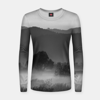 Thumbnail image of Fog rolling through valley in black and white Women sweater, Live Heroes