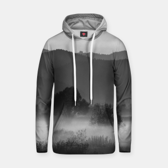 Thumbnail image of Fog rolling through valley in black and white Hoodie, Live Heroes