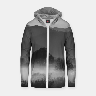 Thumbnail image of Fog rolling through valley in black and white Zip up hoodie, Live Heroes