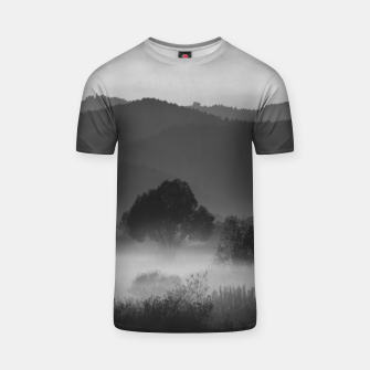 Thumbnail image of Fog rolling through valley in black and white T-shirt, Live Heroes