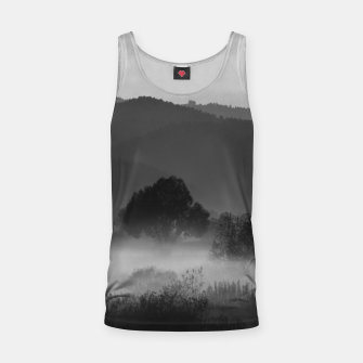 Thumbnail image of Fog rolling through valley in black and white Tank Top, Live Heroes