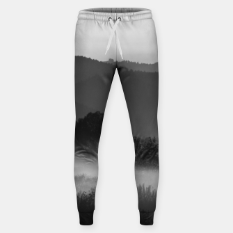 Thumbnail image of Fog rolling through valley in black and white Sweatpants, Live Heroes