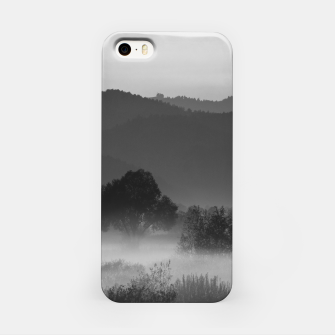 Thumbnail image of Fog rolling through valley in black and white iPhone Case, Live Heroes
