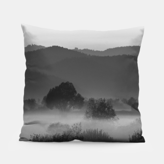 Thumbnail image of Fog rolling through valley in black and white Pillow, Live Heroes