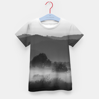 Thumbnail image of Fog rolling through valley in black and white Kid's t-shirt, Live Heroes