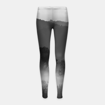 Thumbnail image of Fog rolling through valley in black and white Girl's leggings, Live Heroes