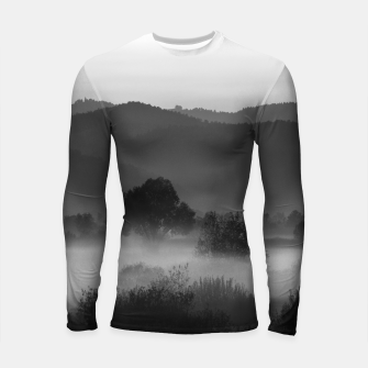 Thumbnail image of Fog rolling through valley in black and white Longsleeve rashguard , Live Heroes