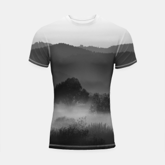 Thumbnail image of Fog rolling through valley in black and white Shortsleeve rashguard, Live Heroes