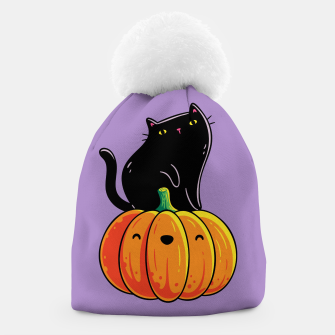 Miniatur Spooky Cute Black Cat Sitting on a Pumpkin, Halloween, Kawaii Beanie, Live Heroes