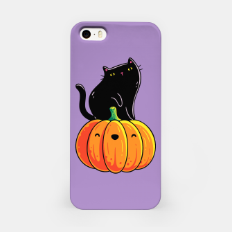 Miniatur Spooky Cute Black Cat Sitting on a Pumpkin, Halloween, Kawaii iPhone Case, Live Heroes