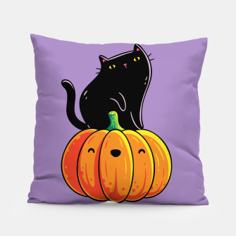 Miniatur Spooky Cute Black Cat Sitting on a Pumpkin, Halloween, Kawaii Pillow, Live Heroes