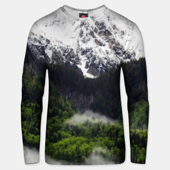 Thumbnail image of Fog rolling through forest below mountains Unisex sweater, Live Heroes