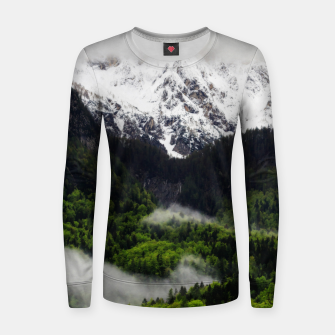 Thumbnail image of Fog rolling through forest below mountains Women sweater, Live Heroes