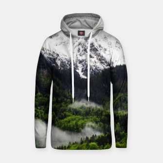 Thumbnail image of Fog rolling through forest below mountains Hoodie, Live Heroes