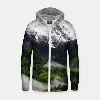 Thumbnail image of Fog rolling through forest below mountains Zip up hoodie, Live Heroes
