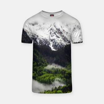 Thumbnail image of Fog rolling through forest below mountains T-shirt, Live Heroes