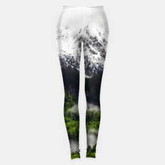 Thumbnail image of Fog rolling through forest below mountains Leggings, Live Heroes