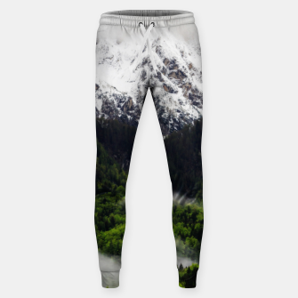 Thumbnail image of Fog rolling through forest below mountains Sweatpants, Live Heroes