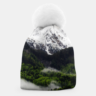 Thumbnail image of Fog rolling through forest below mountains Beanie, Live Heroes