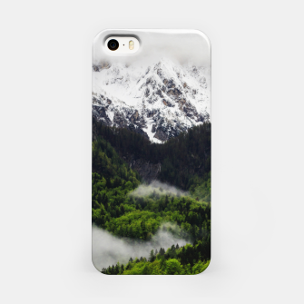 Thumbnail image of Fog rolling through forest below mountains iPhone Case, Live Heroes