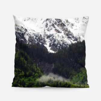 Thumbnail image of Fog rolling through forest below mountains Pillow, Live Heroes