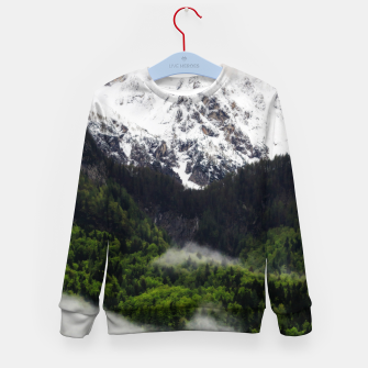 Thumbnail image of Fog rolling through forest below mountains Kid's sweater, Live Heroes