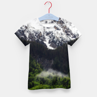 Thumbnail image of Fog rolling through forest below mountains Kid's t-shirt, Live Heroes