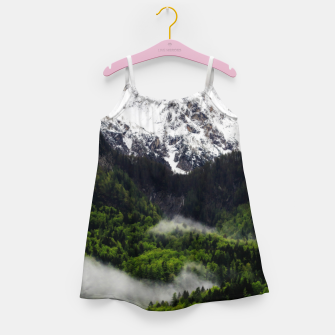 Thumbnail image of Fog rolling through forest below mountains Girl's dress, Live Heroes