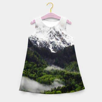 Thumbnail image of Fog rolling through forest below mountains Girl's summer dress, Live Heroes