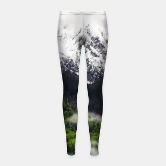 Thumbnail image of Fog rolling through forest below mountains Girl's leggings, Live Heroes