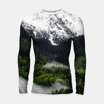 Thumbnail image of Fog rolling through forest below mountains Longsleeve rashguard , Live Heroes