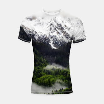 Thumbnail image of Fog rolling through forest below mountains Shortsleeve rashguard, Live Heroes